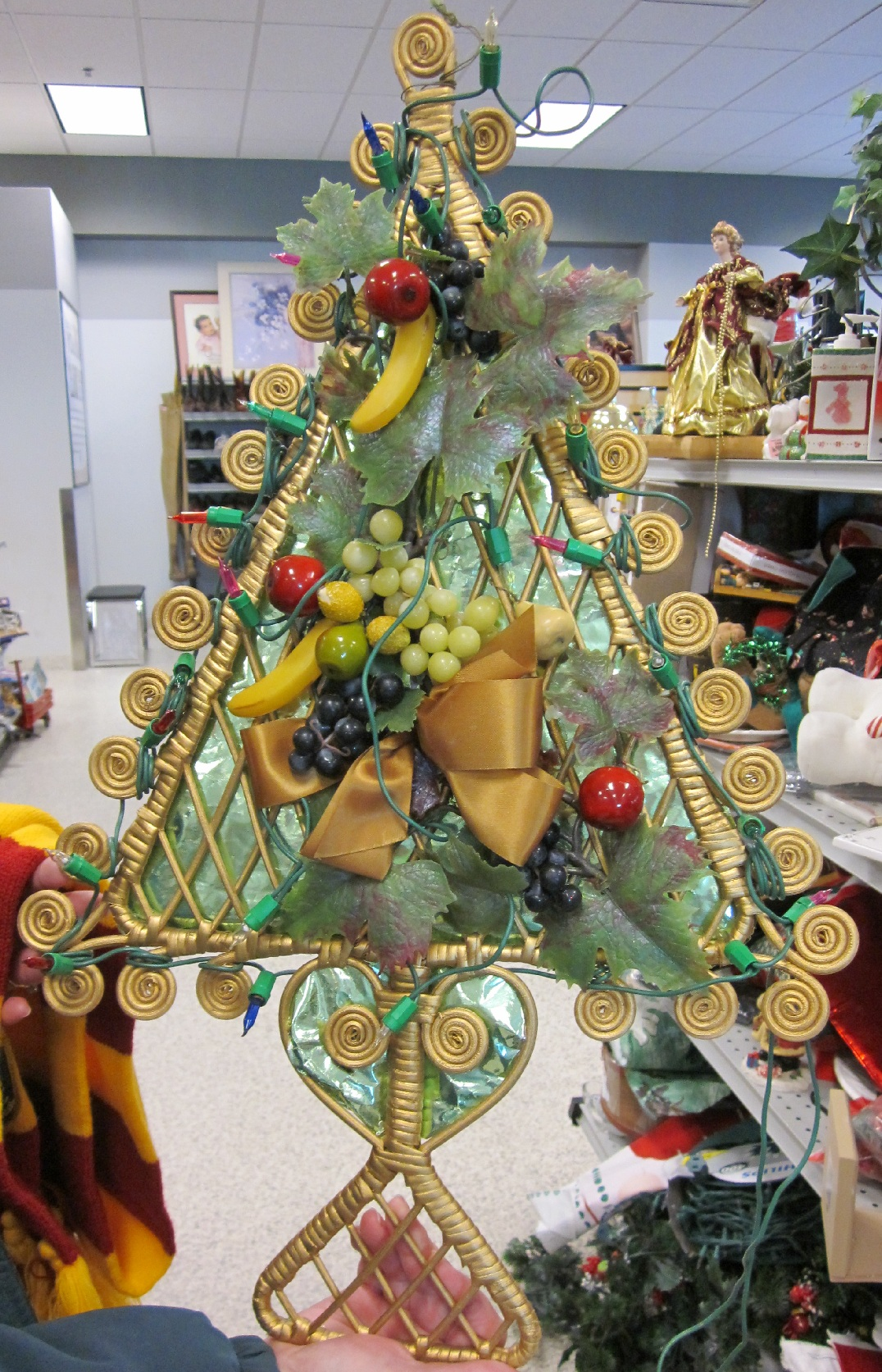 Straw Christmas Tree Decorated With