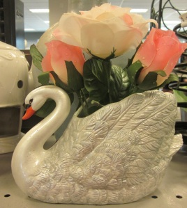 Glittery swan flower arrangement