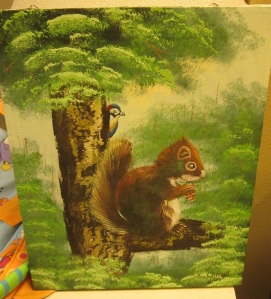Weird Squirrel Oil painting