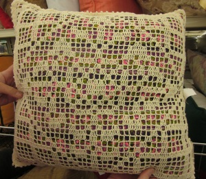Mod Filet Crochet Pillow