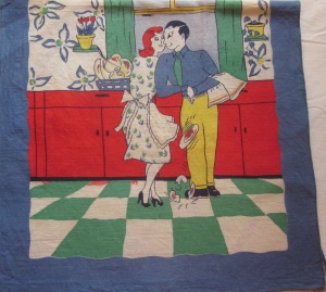 Forties or Fifties Linen Dish Towel
