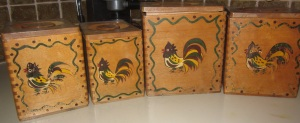 Wooden Chicken Canisters