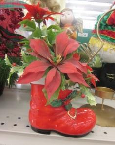 Vintage Santa Boot planter