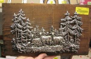 Silver Plastic Deer Plaque