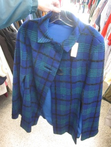 Vintage Blue Plaid Cape with Fun Buttons