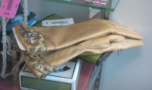 Blinged out leather gloves