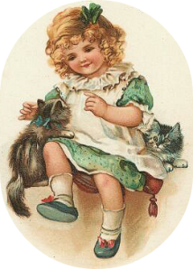 Vintage Girl and Kitty