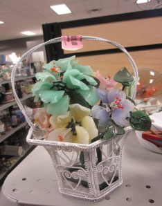 Glass flowers in a basket