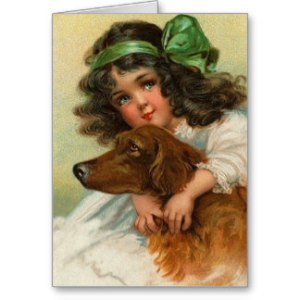 Vintage Girl and Dog