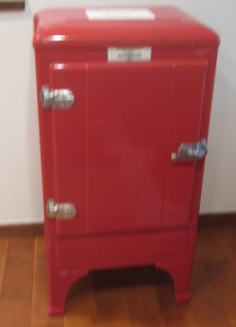 Blurry red refrigerator