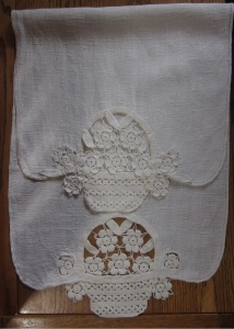 Linen table runner with crochet cutwork