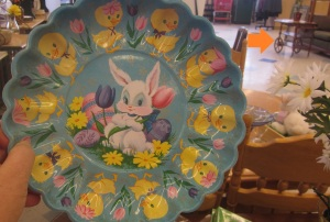 Bunny plate and tea cart