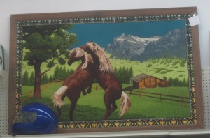 Horse fighting rug