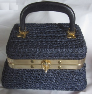Blue Raffia made in italy purse