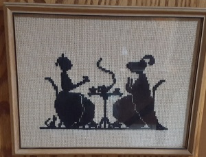 Cross stitch ladies having tea