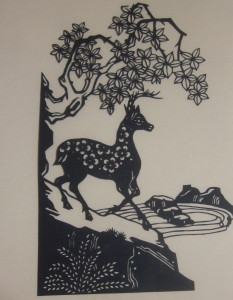Deer with flowers silhouette 2