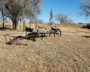 Wagon and windmill